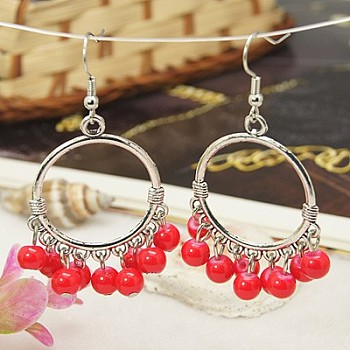 Tibetan Style Chandelier Earrings, Antique Dangling Earring, with Baking Painted Glass Beads and Brass Earring Hooks, Red, 60mm
