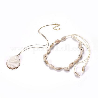 Pendentifs shell et ensembles de colliers tour de couNJEW-JN02388-1