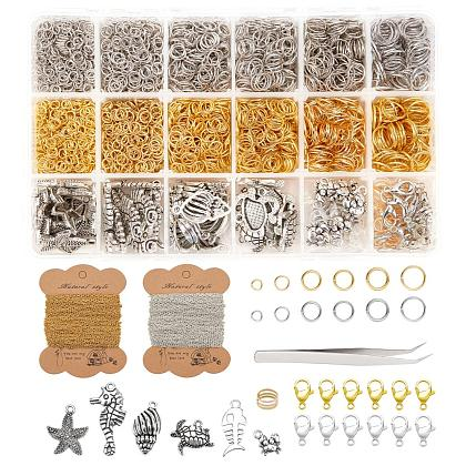 PH PandaHall Chains Jewelry Making Kit, 65 Feet Link Cable Chain 3000pcs Jump Rings, 60pcs Lobster Claw Clasps, 60pcs Sea Charms, Tweezers, Jump Ring Opener, Platinum & Golden DIY-PH0004-69