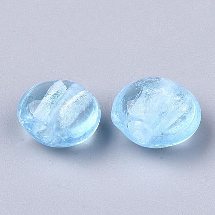 手作りの銀箔のランプワークガラスビーズSLF12MMY-1L-1