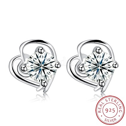 Exquisite 925 Sterling Silver Cubic Zirconia Stud EarringsEJEW-BB20115-1