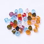Чешские Бусины, граненые, двухконусные, разноцветные, длиной около 6 мм , шириной 6 мм , отверстие : 1 мм, около 144 шт / брутто