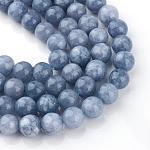 Dyed Natural Quartz Round Bead Strands, Imitation Aquamarine, 6mm, Hole: 1mm; about 65pcs/strand, 15.7inches