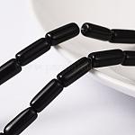 クリアガラスビーズ連売り, チューブ, ブラック, 10x4mm, 穴:0.5mm、約32~33個/連, 12