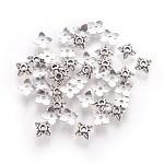 Tibetan Style Alloy Bead Caps, Cadmium Free & Nickel Free & Lead Free, Flower, Antique Silver, 6x6x2mm, Hole: 1mm