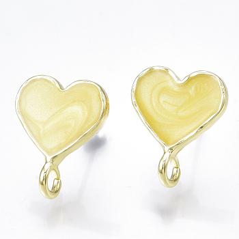 Resultados del pendiente del perno prisionero del esmalte, con bucle y pasador de acero, corazón, la luz de oro, amarillo champagne, 16~17x13mm, agujero: 2.5~3 mm; pin: 0.7 mm