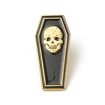 Сплавные эмалевые броши, эмалевый штифт, для Хэллоуина, с клатчем-бабочкой, гроб с черепом, чёрные, золотые, 32.5x15x10 мм, контактный: 1.2 mm.