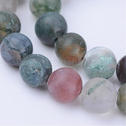 Chapelets de perles en agate indienne naturelleG-Q462-6mm-08-1