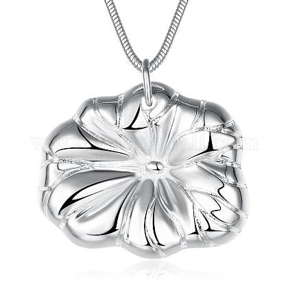Fashion Popular Silver Plated Brass Snake Chain Lotus Leaf Pendant NecklacesNJEW-BB01575-1