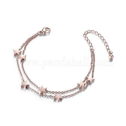 Shegrace® chic pulseras de múltiples hilos de acero de titanioJB265B-1