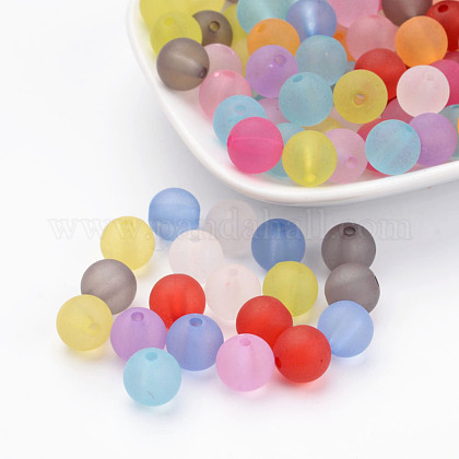 10mm Mixed Transparent Round Frosted Acrylic Ball BeadsX-FACR-R021-10mm-M-1