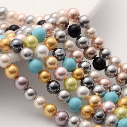 Abalorios coloridos concha perla hebrasX-BSHE-F013-14M-6mm-1