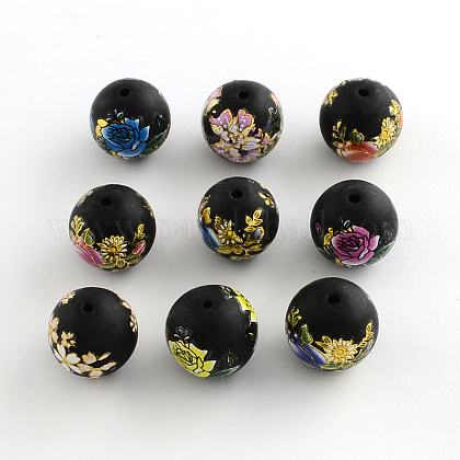 Flower Picture Brushwork Glass Round Beads GFB-R004-14mm-M21-1