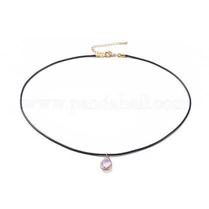 Latón pendiente de los collares de cristalNJEW-JN02506-04-1