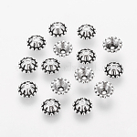 Tibetan Style Alloy Bead Caps, Antique Silver, Cadmium Free & Nickel Free & Lead Free, 8x3mm, Hole: 1mm, Inner Diameter: 5mm