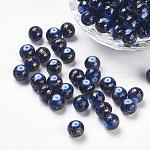 Perles en résine peintes par pulvérisation, ronde, prussianblue, 8mm, Trou: 1mm