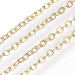 Brass Cable Chains, Soldered, Flat Oval, Real 18K Gold Plated, 2.5x2.1x0.3mm
