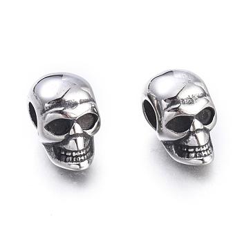 Хэллоуин 304 из нержавеющей стали европейский бисер, бусины с большим отверстием, череп головы, античное серебро, 16x9.5x13 мм, отверстие : 5 мм