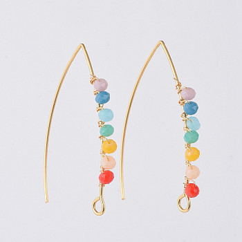 304 Stainless Steel Earring Hooks, with Faceted Rondelle Glass Beads, Golden, Colorful, 40x28x3mm, Hole: 3x2mm, Pin: 0.7mm