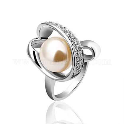 Anillos de dedo de perlas de imitación redondos de aleación de estaño respetuosos del medio ambiente chapados en platino real para fiestaRJEW-BB14342-8P-1
