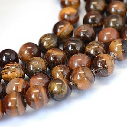 Grade AB Natural Tiger Eye Round Beads Strands G-E334-8mm-17-1
