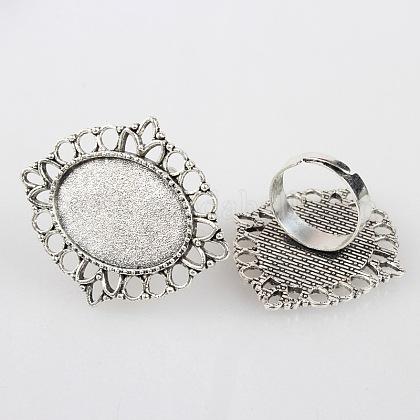 Fer réglable composants d'anneau fleur doigt vintage supports de lunette alliage cabochonX-PALLOY-O036-03AS-1