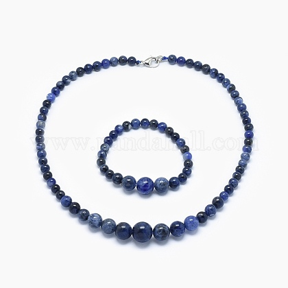 Natural Sodalite Graduated Beads Necklaces and Bracelets Jewelry Sets SJEW-L132-11-1