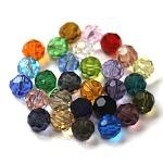 Abalorios de cristal austriaco de imitación, aaa grado, facetados, redondo, color mezclado, 4mm, agujero: 0.7~0.9 mm