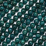 Natural Apatite Beads Strands, Round, Teal, 8mm, Hole: 1mm; about 50pcs/strand, 15.7inches