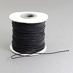 Round Elastic Cord, with Nylon Outside and Rubber Inside, Black, 1mm; 100m/roll