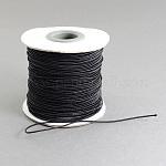Эластичный шнур круглого, с нейлоновым снаружи и резины внутри, чёрные, 1 мм; 100 м / рулон