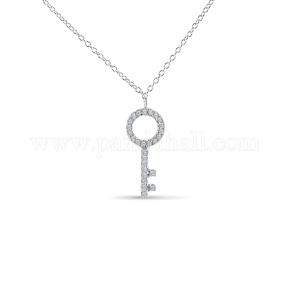 TINYSAND® Sterling Silver Key Rhinestone Pendant NecklacesTS-N166-S-18-1