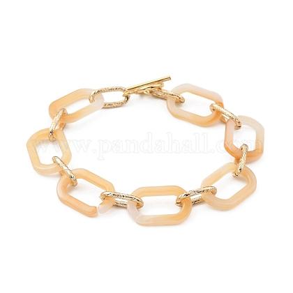 Pulseras de cadena de cable de acrílico y aluminioBJEW-JB05425-05-1