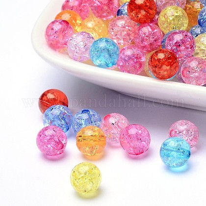 Transparent Crackle Acrylic Beads CACR-R008-10mm-M-1