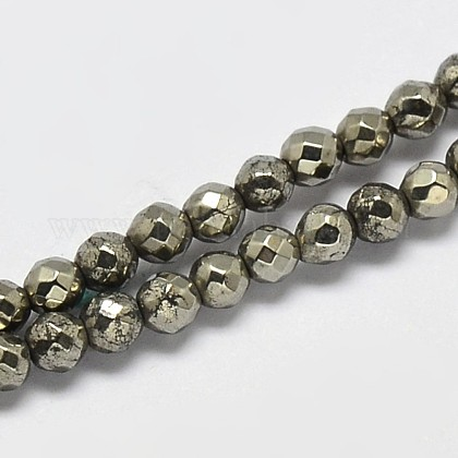 Natural Pyrite Round Beads Strands G-F197-09-4mm-1