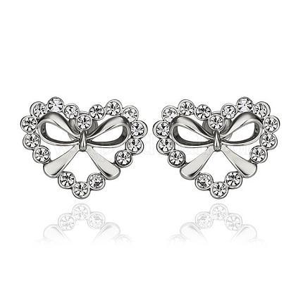 Trendy Heart Real Platinum Plated Tin Alloy Czech Rhinestone Ear Studs For WomenEJEW-BB13659-1