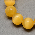 Cat Eye Beads Strands, Round, Goldenrod, 8mm, Hole: 1mm; about 50pcs/strand, 14