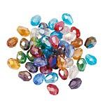 Abalorios de vidrio, color de ab chapado, facetados, lágrima, color mezclado, 7~8x6mm, agujero: 1 mm