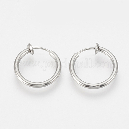 304 Stainless Steel Retractable Clip-on Hoop Earrings X-STAS-S100-06-1