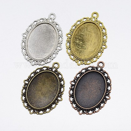 Zinc Alloy Oval Pendant Cabochon Settings PALLOY-X0012-RS-1
