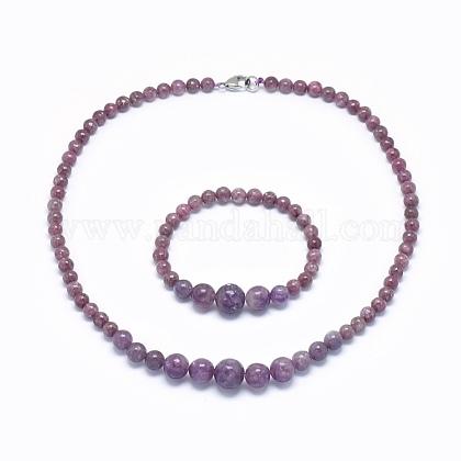 Natural Tourmaline Graduated Beads Necklaces and Bracelets Jewelry SetsSJEW-L132-06-1
