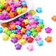 Opaque Acrylic Beads, Star, Mixed Color, 12x12x6mm, Hole: 2mm; about 1340pcs/500g