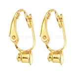 Brass Clip-on Earring Converters Findings, for Non-Pierced Ears, Golden, 19x6x9mm, Hole: 1mm