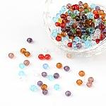 Perles en rondelles facettées en verre transparent, couleur mixte, 4x3mm, Trou: 1mm