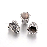 Tibetan Style Alloy Caps, Cadmium Free & Lead Free & Nickel Free, Flower, Antique Silver, 10x10mm, Hole: 1mm