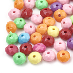 Opaque Acrylic Beads, Faceted, Rondelle, Mixed Color, 8x5.5mm, Hole: 1.5mm; about 2790pcs/500g
