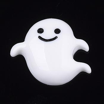 Кабошоны из смолы, призрак, Хэллоуин, белые, 22x25x7 мм