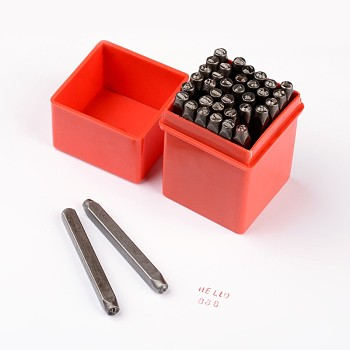 Iron Seal Stamps, Stamping Tools, for Leather Craft, Including Letter A~Z, Number 0~8 and Ampersand &, Black, 60x6mm; 36pcs/box