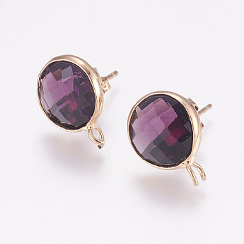 Faceted Glass Stud Earring Findings, with Loop, Golden Tone Brass Findings, Flat Round, Purple, 17x13x6mm, Hole: 2mm; Pin: 1mm