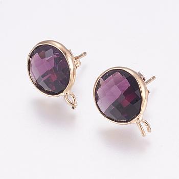 Fornituras de pendientes de cristal facetado, con bucle, fornituras de latón en tono dorado, plano y redondo, púrpura, 17x13x6mm, agujero: 2 mm; pin: 1 mm